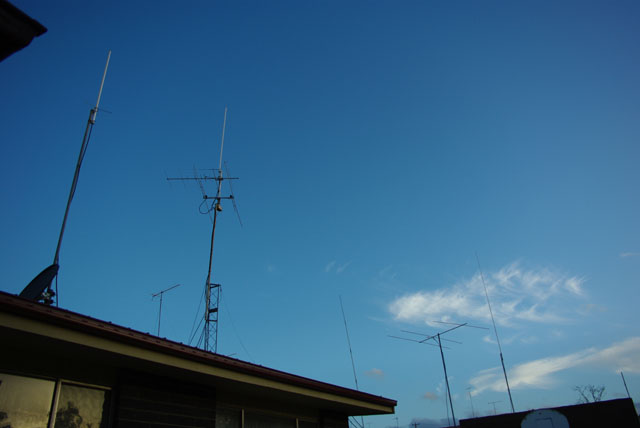 Some of the antennas, including Yagi's for 6M (listening for VK6 and ZL!)
